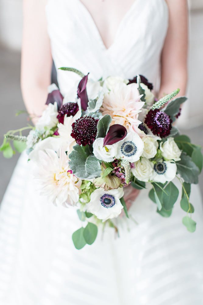 Brides's purple wedding bouquet