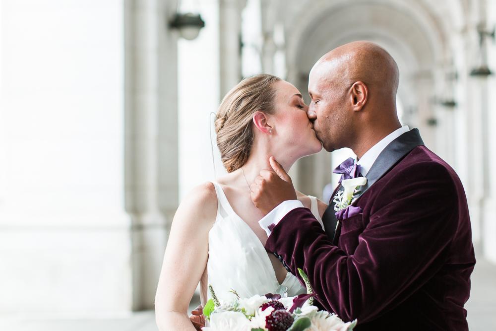 Wedding couple kisses at Union Station | DC wedding photography
