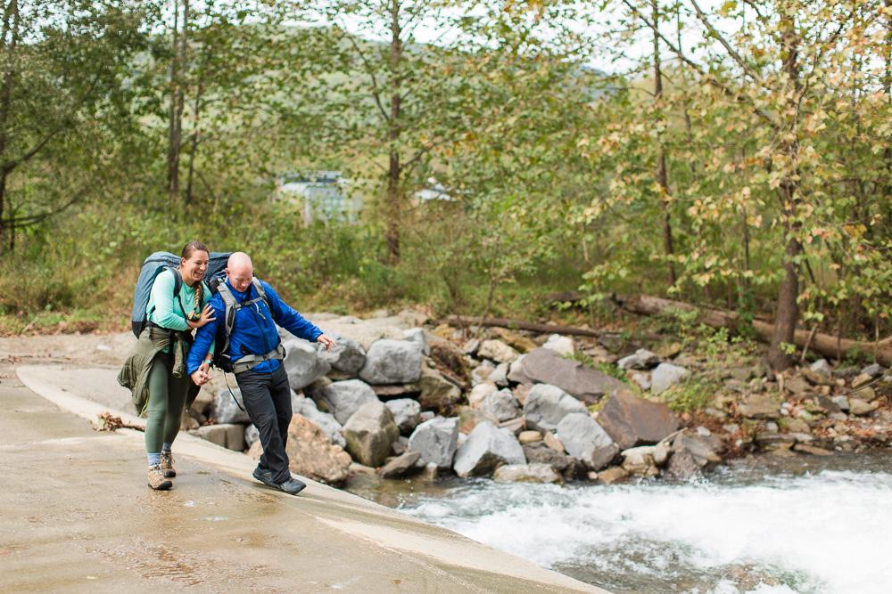 Backpacking engagement session along Seneca Creek in West Virginia