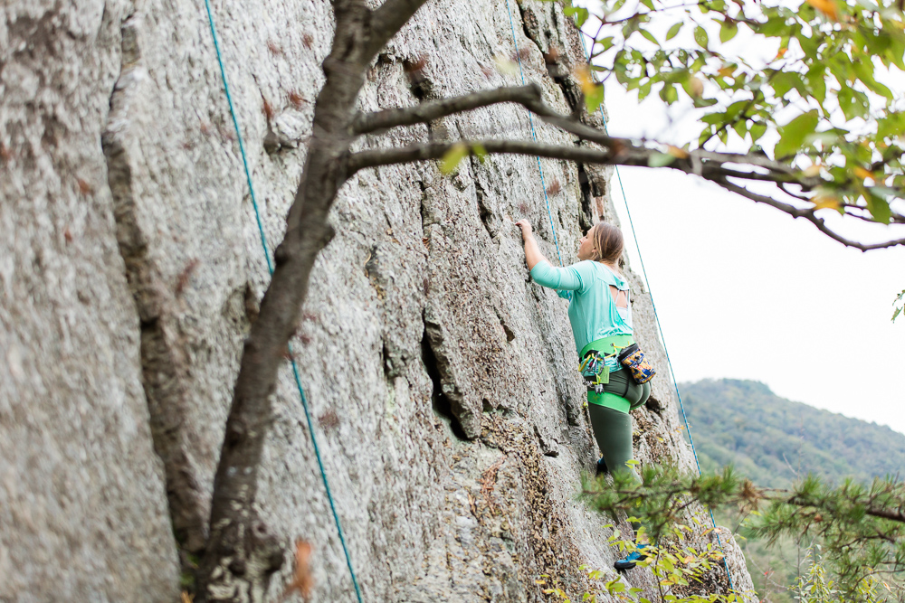 View from rock climbing up Seneca Rocks | Adventure photography engagement pictures