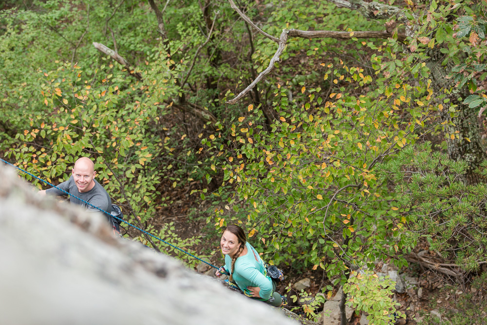Engagement pictures for rock climbers | Northern Virginia adventure wedding photographer