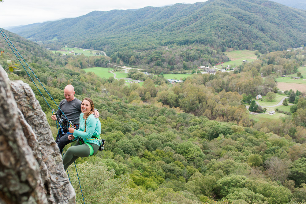 Scenic view over West Virginia from the top of Seneca Rocks during a rock climbers engagement shoot | Best West Virginia Engagement Photographer