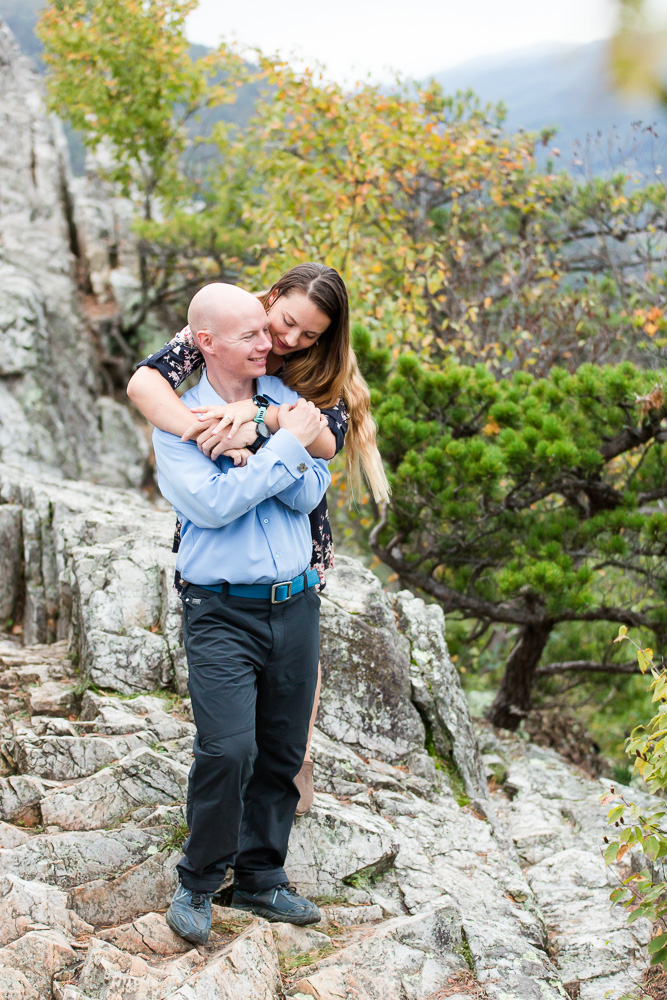 Adventure photo session for outdoorsy engaged couple in West Virginia