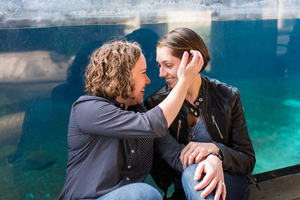 Candid engagement photos with lesbian couple at the DC National Zoo