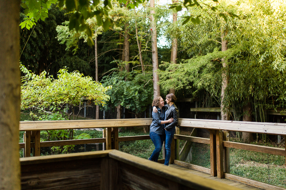 Couple hugging in the bamboo forest at the National Zoo in Washington, DC