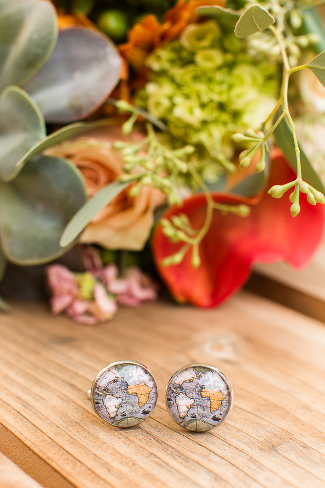 Globe cuff links | Geography lovers wedding ideas