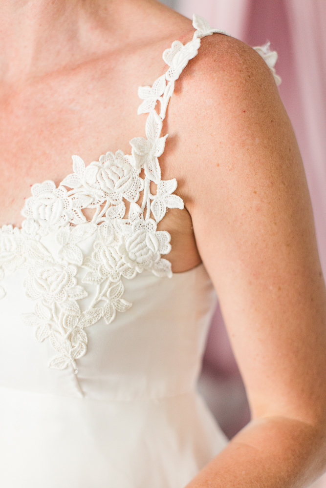 Lace details on wedding dress altered by The Wedding Seamstress in Denver, Colorado