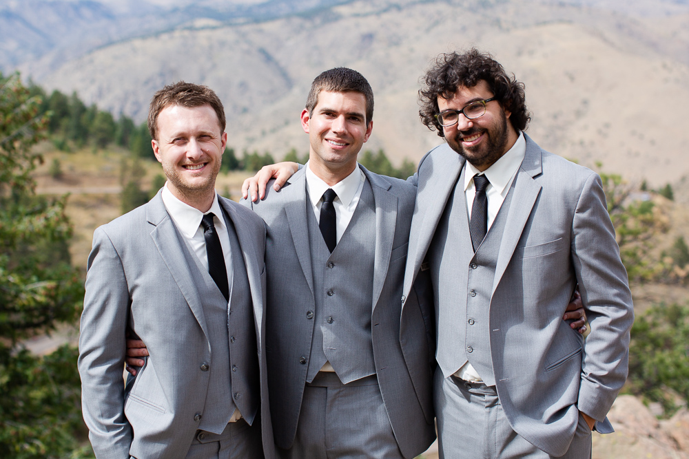 Groom with his groomsmen at Lookout Mountain, Colorado