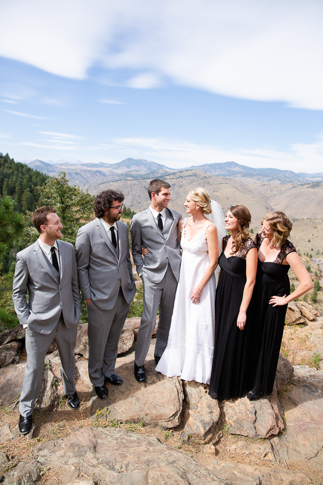 Wedding party posing for pictures at Lookout Mountain in Golden, Colorado