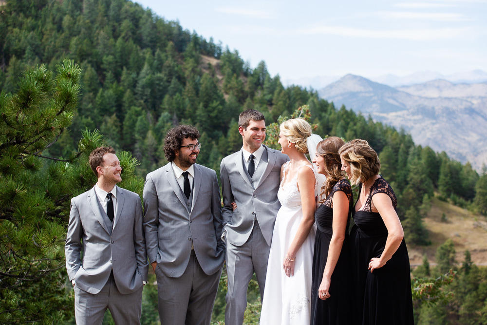 Fun wedding party in the mountains of Golden, Colorado | Lookout Mountain Wedding Photos