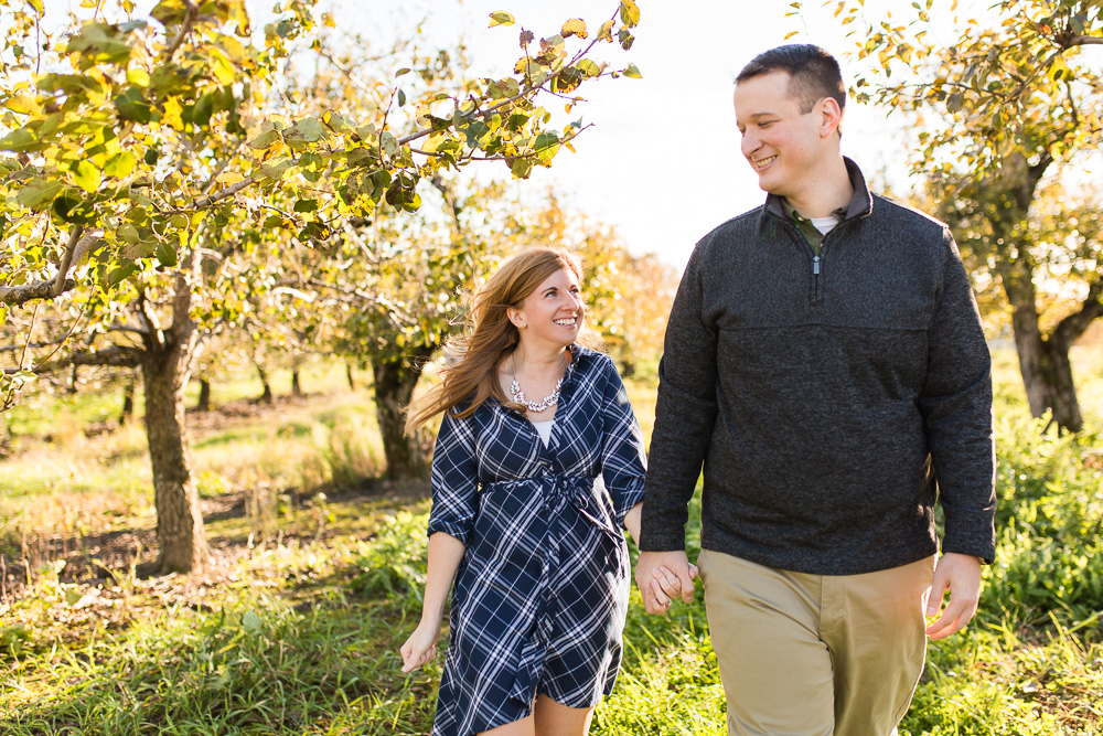 Engagement pictures at an apple orchard in the Hudson Valley