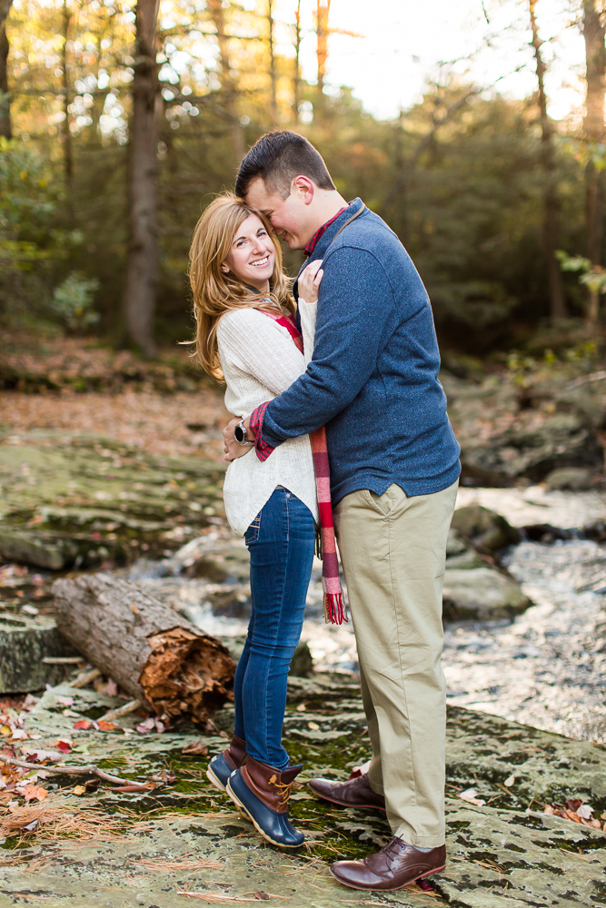 Adventure engagement session in the woods, hiking at Minnewaska State Park