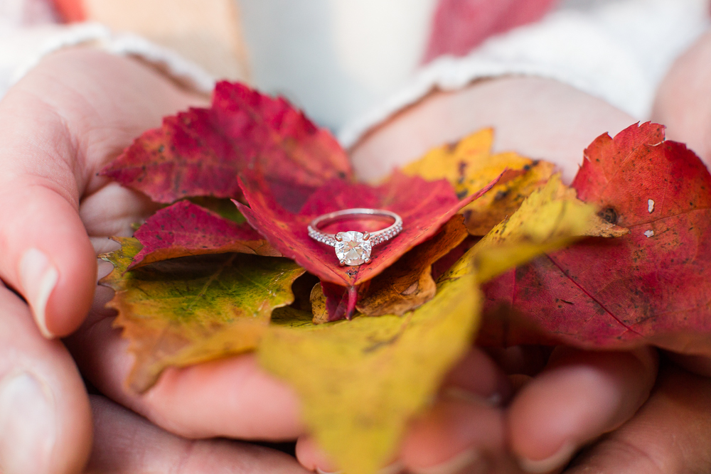 Fall engagement photo idea - engagement ring with red and yellow leaves