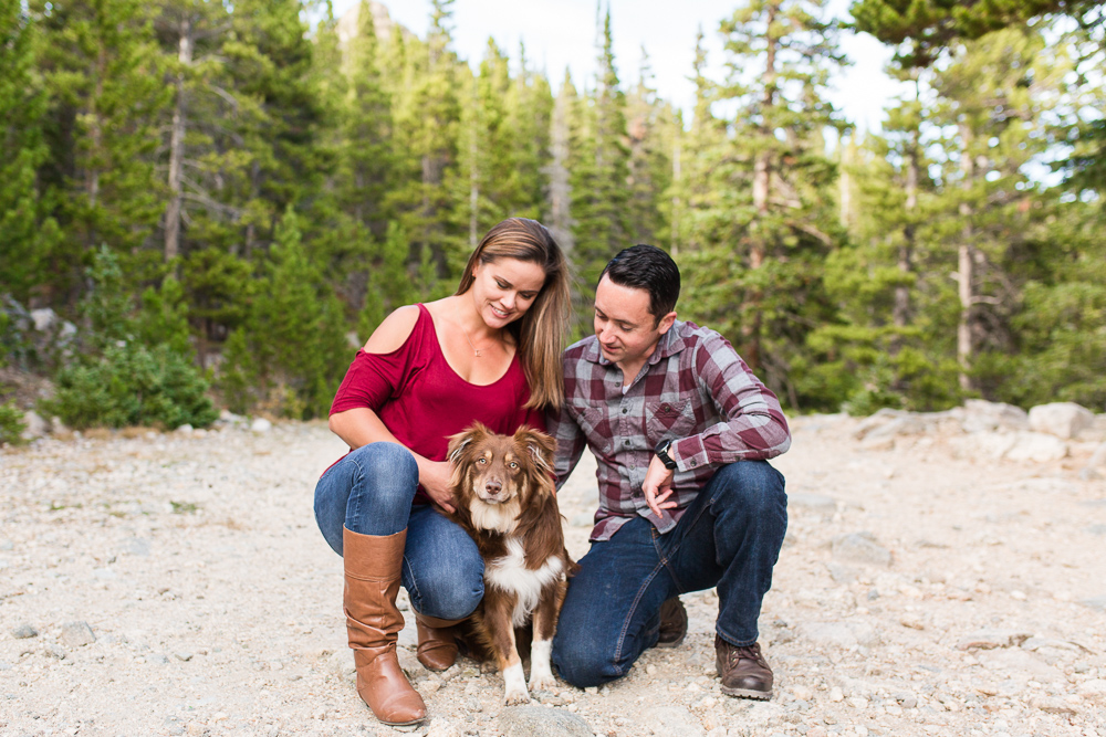 Hiking with mini Australian shepherd at St. Mary's Glacier in Colorado | Colorado Adventure Engagement Photographer