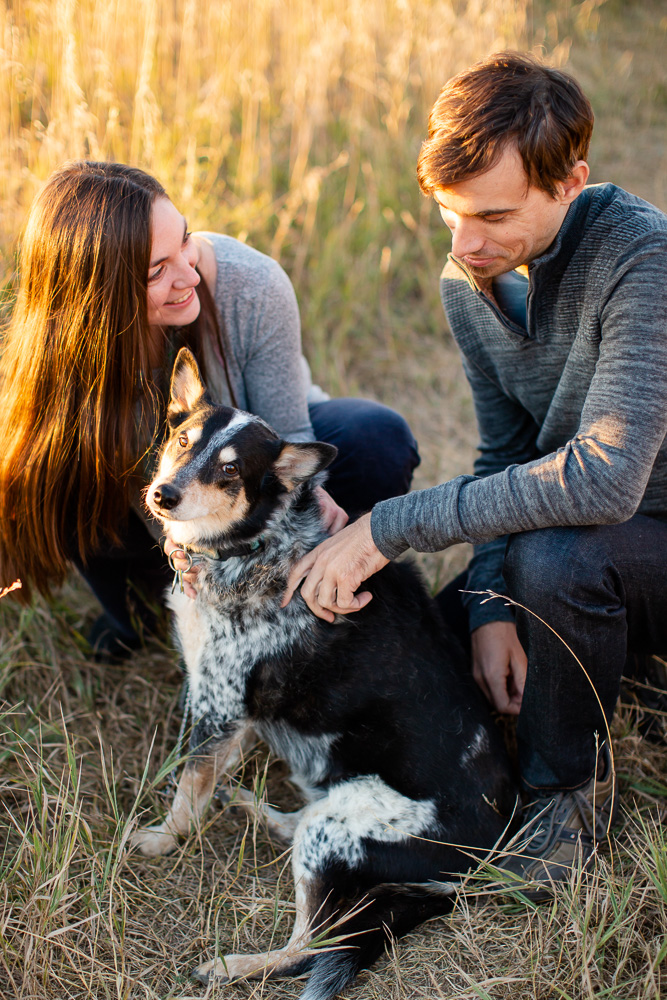 Happy couple with their dog | Candid Boulder Engagement Photographer