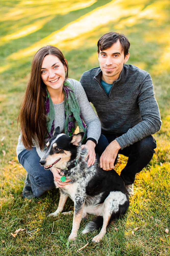 Colorful photos at Chautauqua Park with couple and their dog | Colorado Photographer
