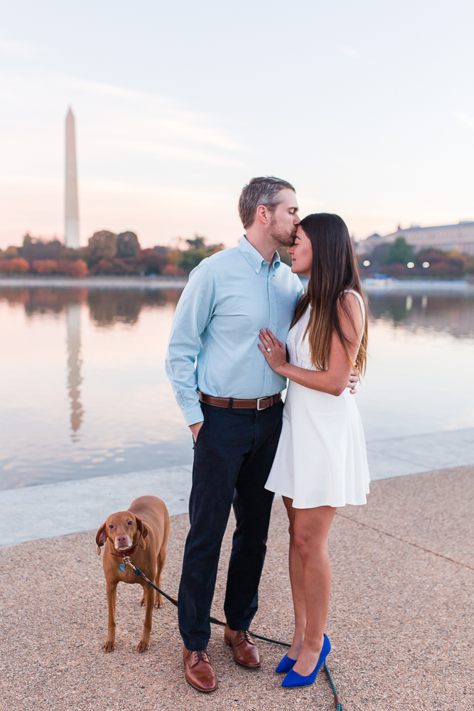 Cute engagement picture with dog looking at the camera near the Tidal Basin in Washington DC