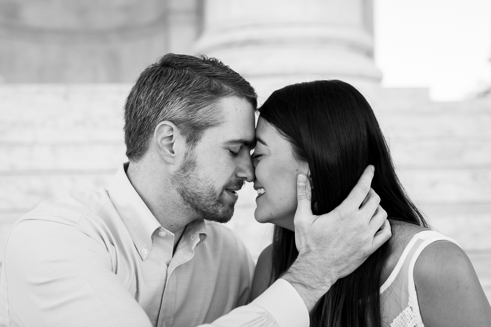 Black and white engagement picture from DC monuments engagement session