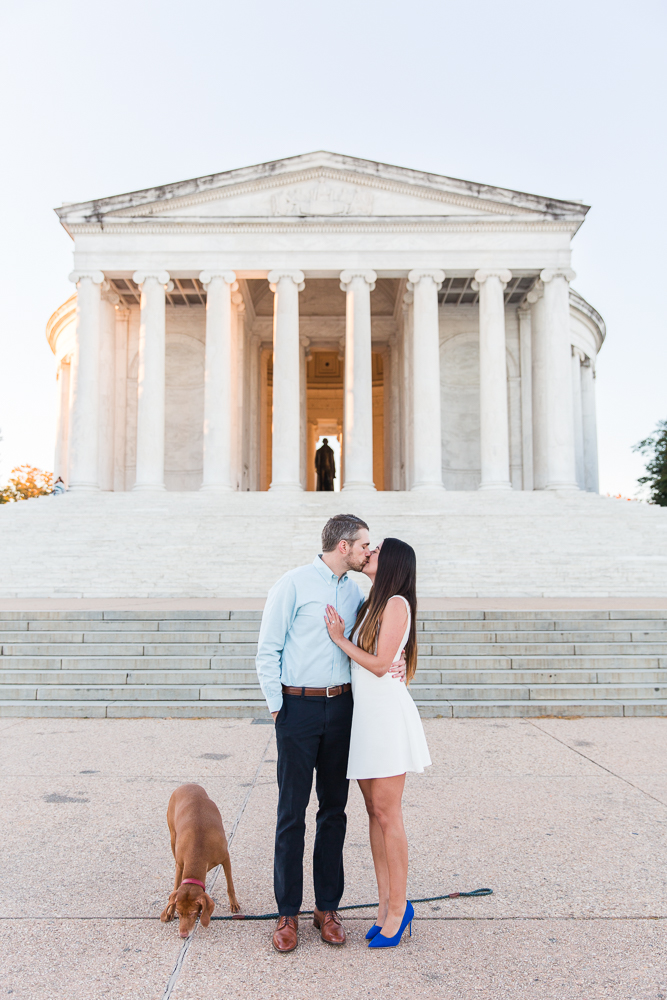 Iconic DC engagement pictures by the Jefferson Memorial | DC monuments engagement sunrise session