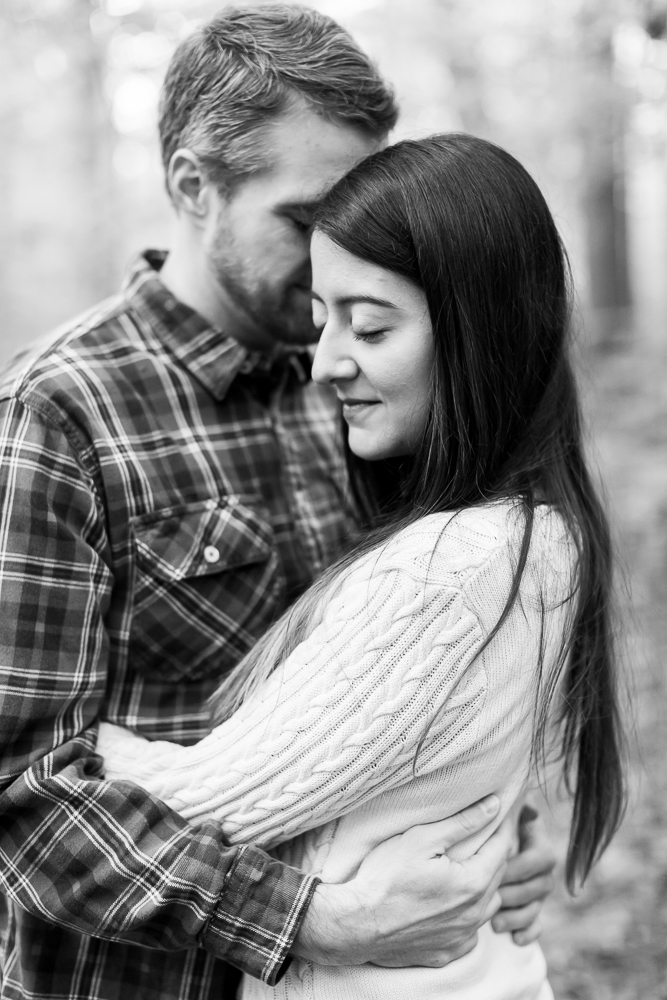 Romantic black and white photo during engagement shoot in DC