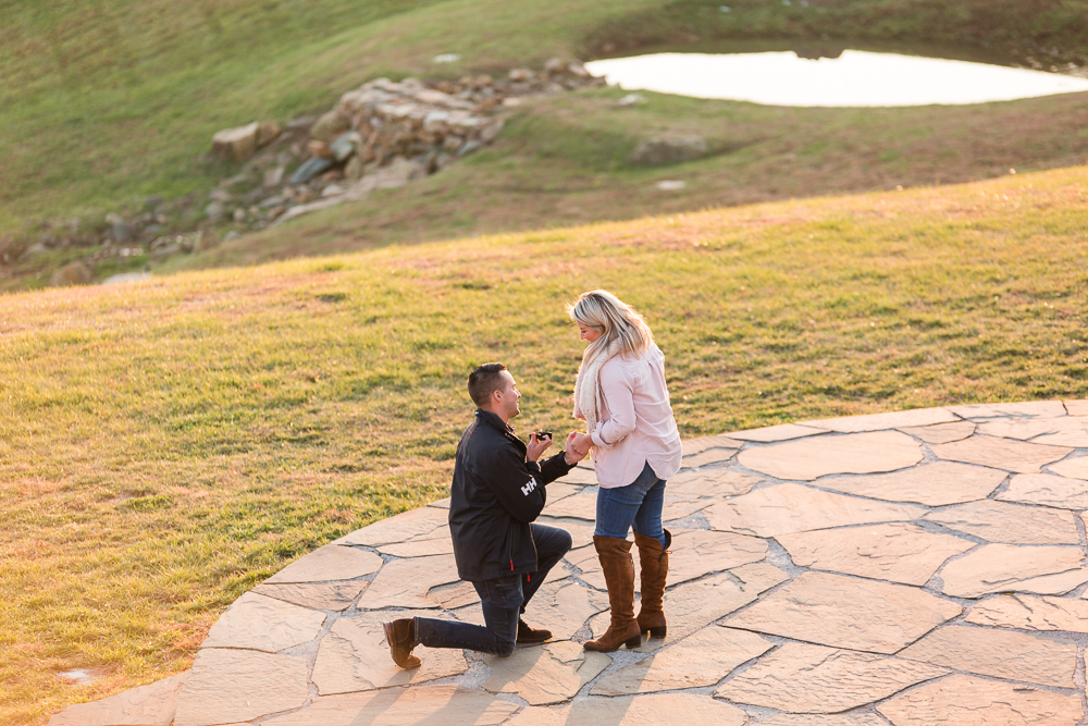 Surprise proposal photography on the stone patio at Stone Tower Winery in Leesburg, Virginia