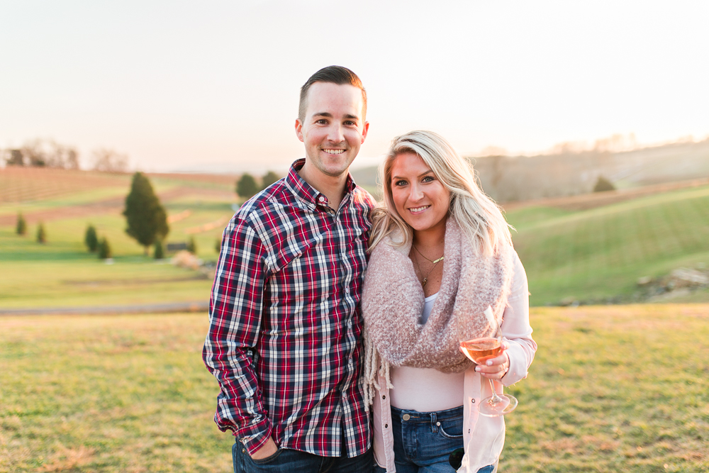 Newly engaged couple after their sunset proposal at Stone Tower Winery in Leesburg, VA