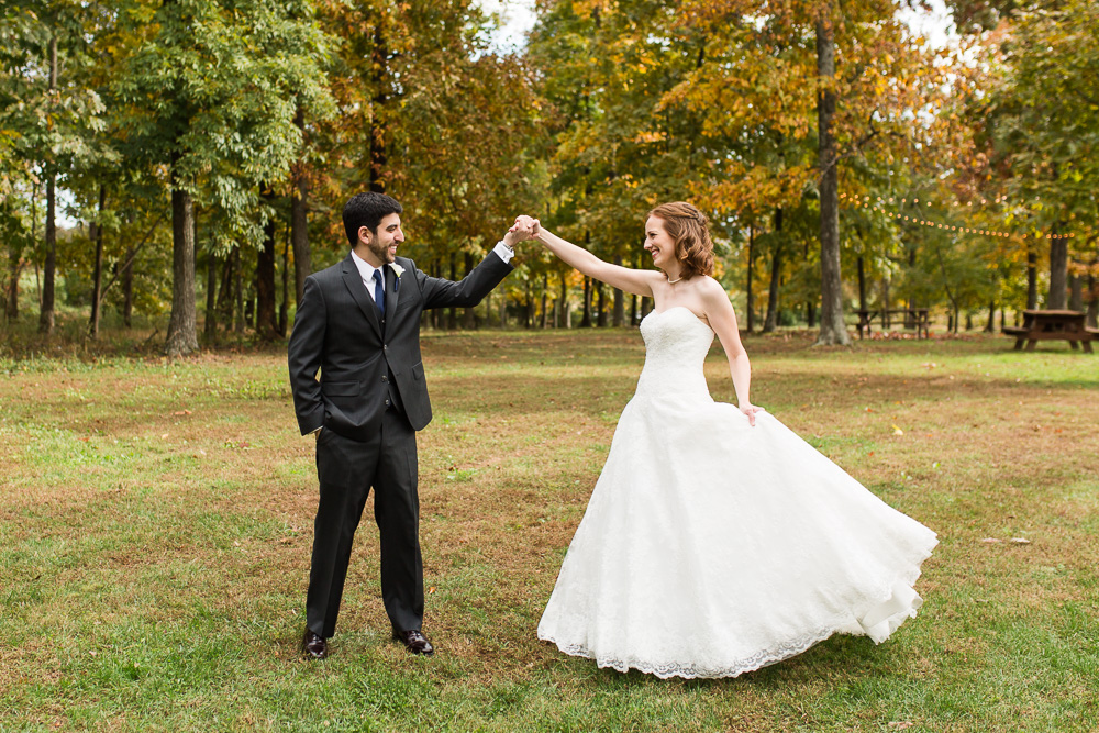 Bride and groom dancing at a fall wedding at the Harvest House at Lost Creek Winery | Best Leesburg, Virginia Wedding Venues