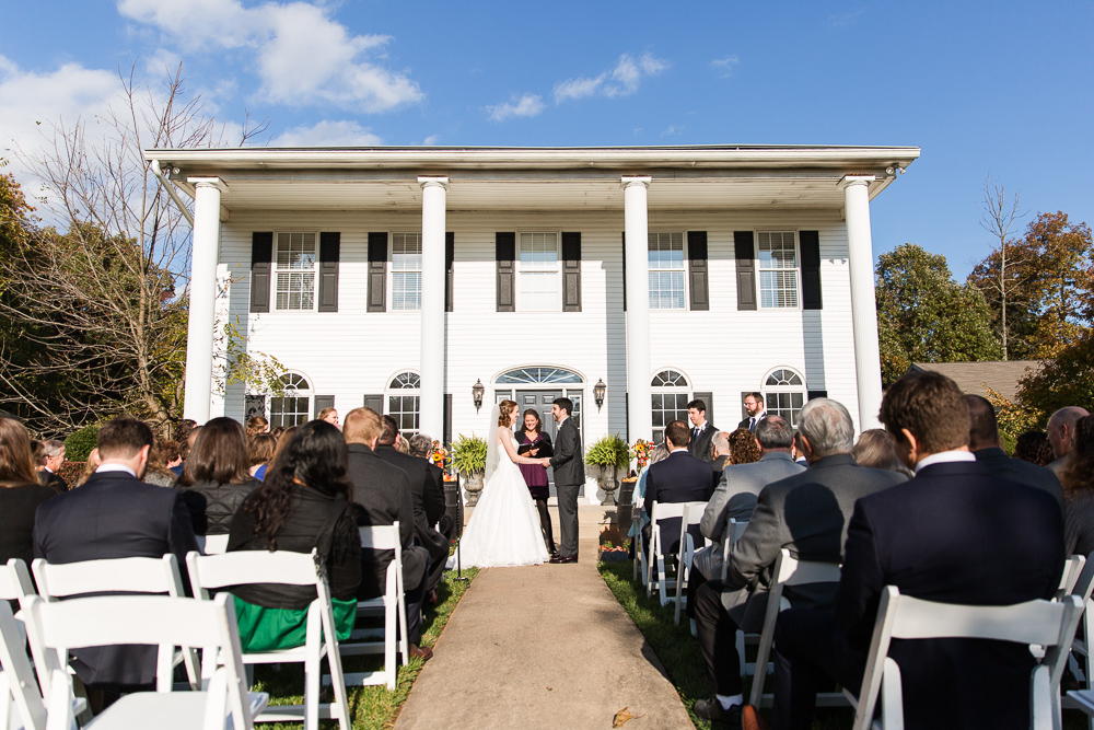 Wedding ceremony on the veranda at the Harvest House at Lost Creek Winery in Loudoun County | Best Outdoor Leesburg Wedding Venues