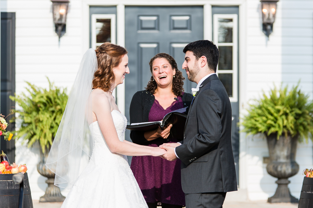 Wedding ceremony in front of the Harvest House at Lost Creek Winery in Loudoun County | Best Leesburg Wedding Venues