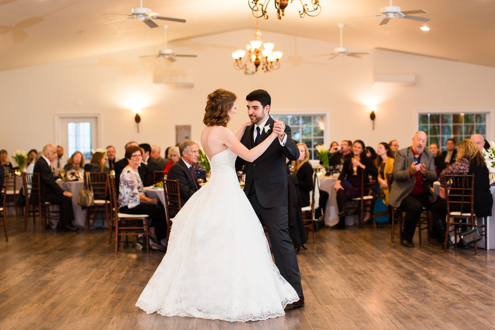 Bride and groom first dance during their wedding reception in Loudoun County, Virginia | Best Wedding Reception Venues in Loudoun County