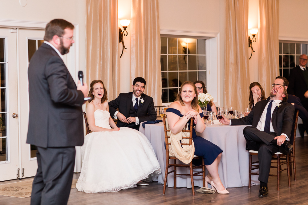 Everyone laughing during the wedding toasts at Lost Creek Winery | Loudoun County Wedding Photographer