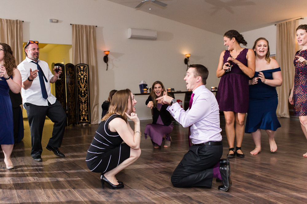 Wedding guests dancing during the reception in Loudoun County