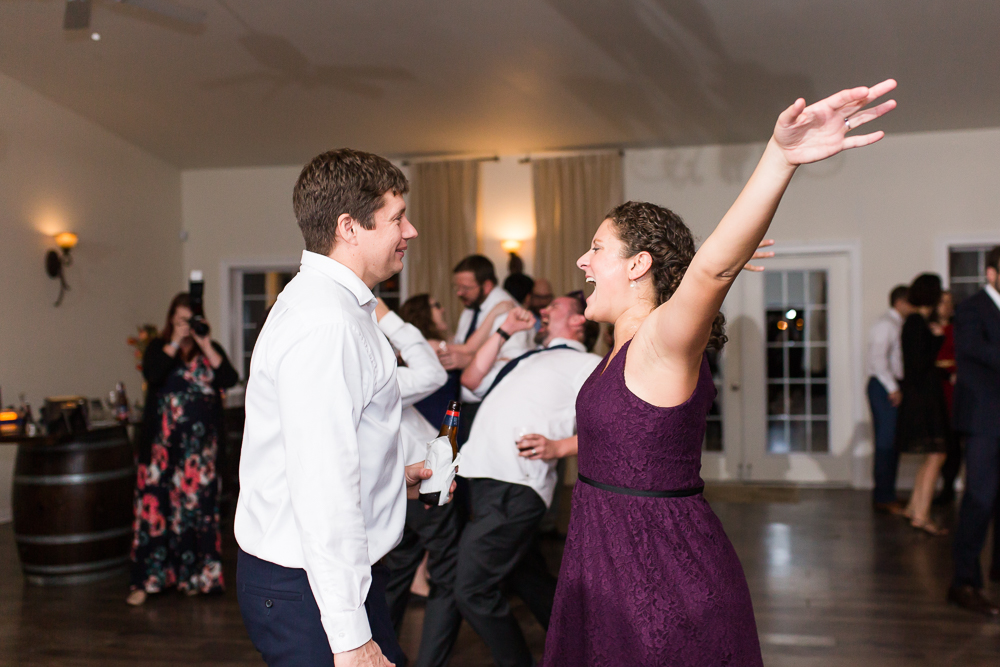Fun dance floor photos at the Harvest House at Lost Creek Winery in Leesburg, Virginia