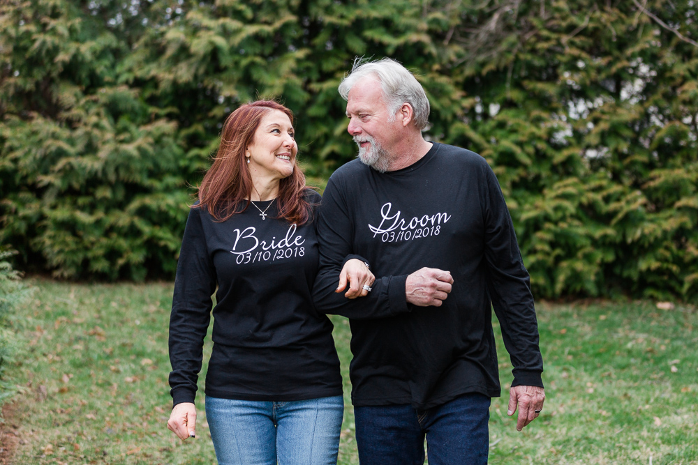 Bride and groom wearing matching t-shirts for their laid back wedding day