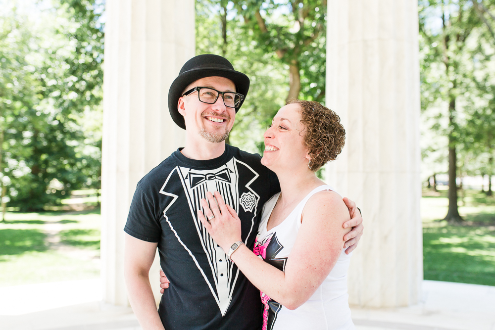 Wedding couple at the DC War Memorial after their intimate elopement ceremony