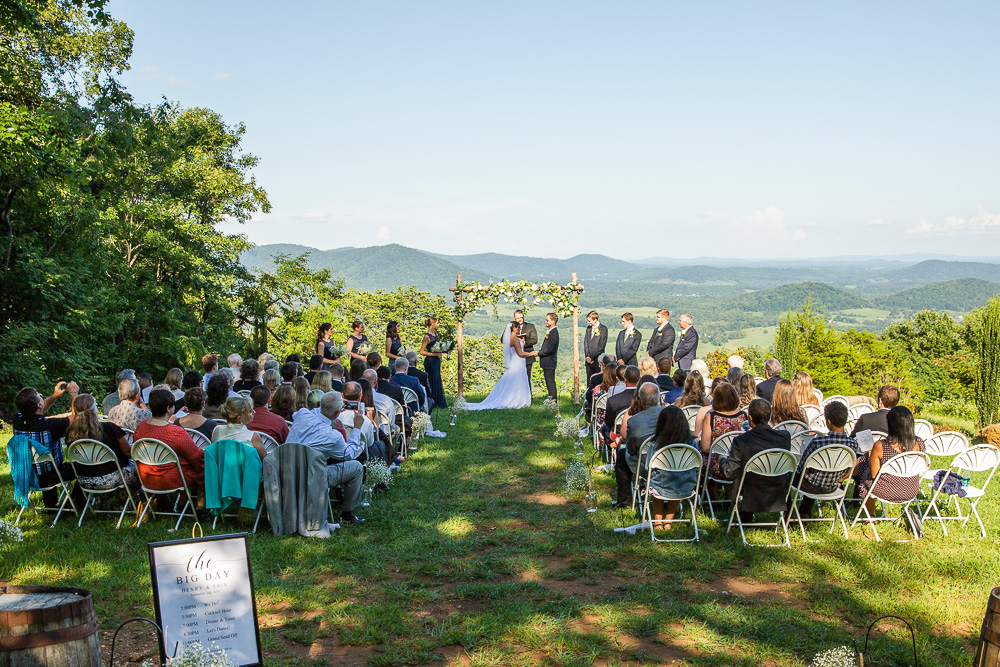 Wedding ceremony overlooking the Shenandoah Valley at Lydia Mountain Lodge in Stanardsville, Virginia