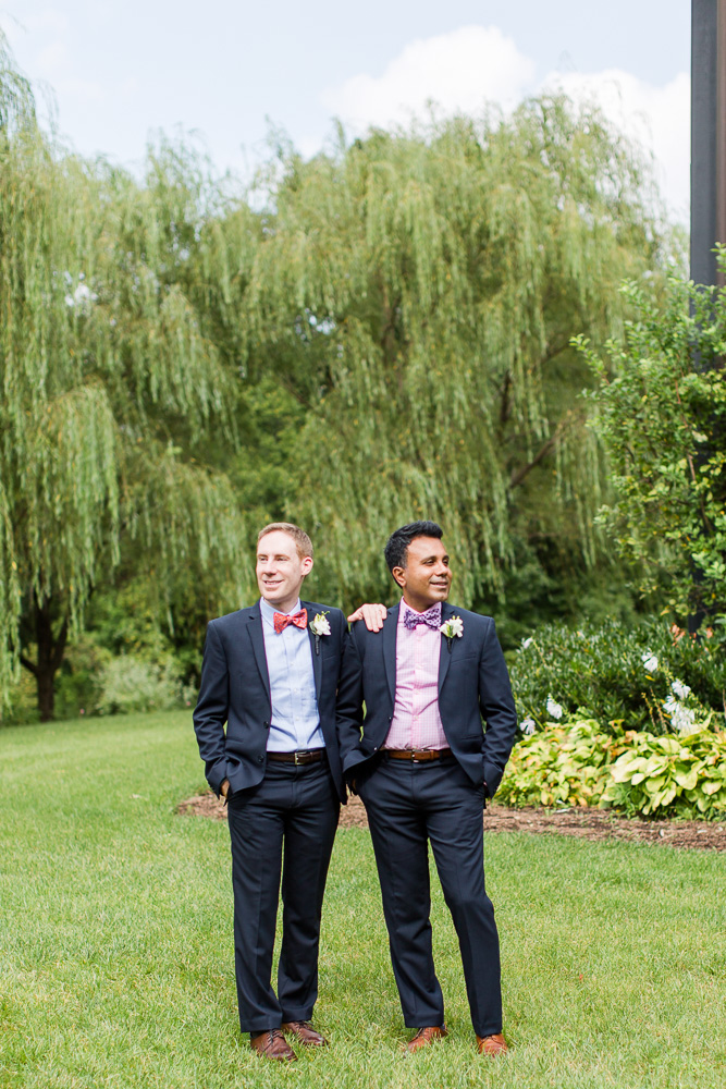 Two grooms on their wedding day at Clyde's Willow Creek Farm in Broadlands, Virginia | Best Gay Wedding Photographer Northern Virginia