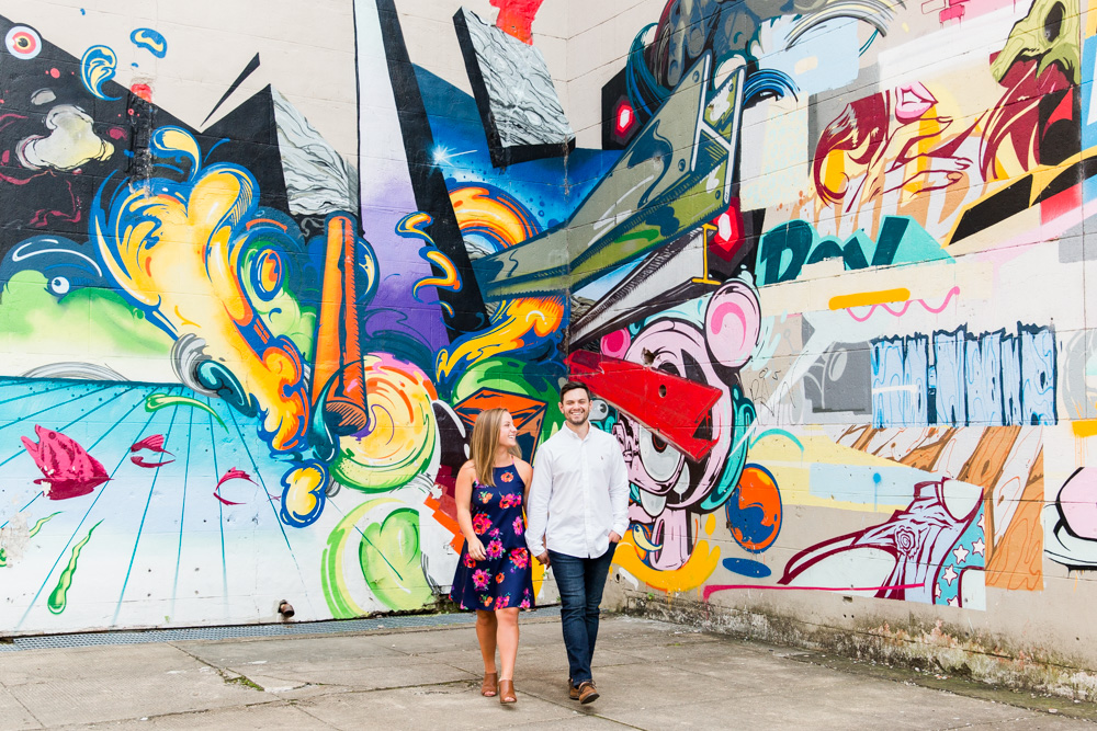 Colorful mural at the Richmond Canal Walk | Richmond, VA engagement pictures