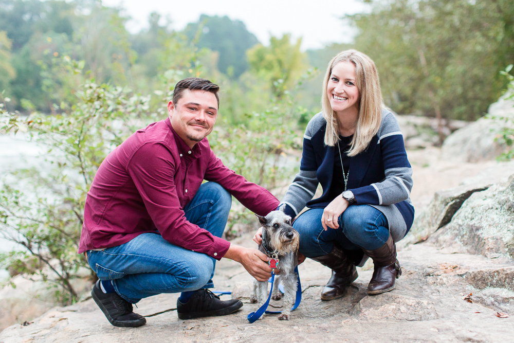 Rappahannock River engagement pictures with a miniature schnauzer in Fredericksburg, VA
