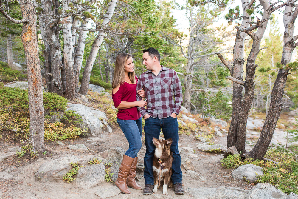 Hiking engagement pictures in the woods with a dog | Hiking engagement photographer in Virginia