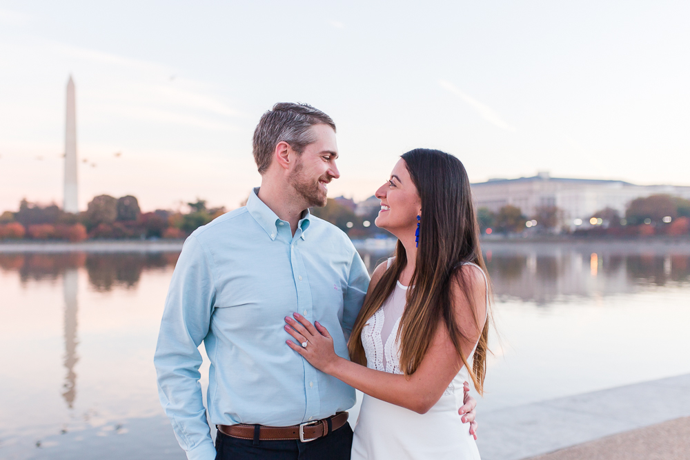 Sunrise engagement pictures at the Tidal Basin | Best Washington DC engagement pictures at the monuments