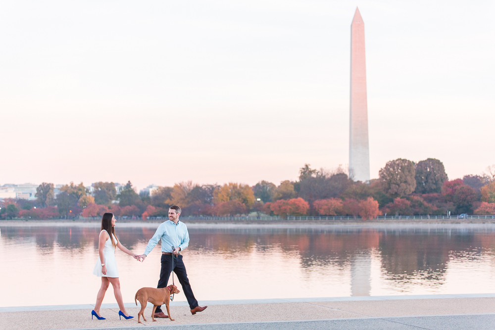 Candid engagement photo at the TIdal Basin of couple walking with their dog | Best DC engagement photography