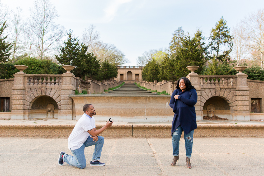 Surprise proposal in front of the fountain at Meridian Hill Park in Washington, DC