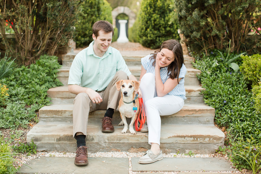 Candid engagement photo of couple with their rescue dog on the steps of the Airlie gardens | Airlie photography