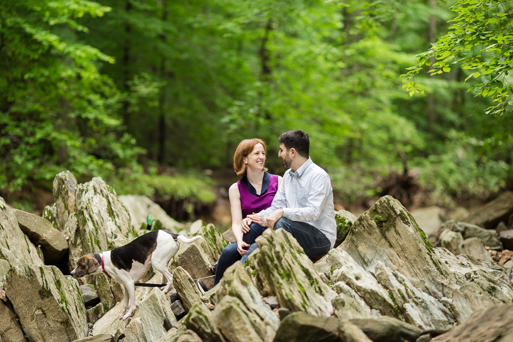 Smiling couple with their dog on the rocks at Scott's Run Nature Preserve in Northern Virginia