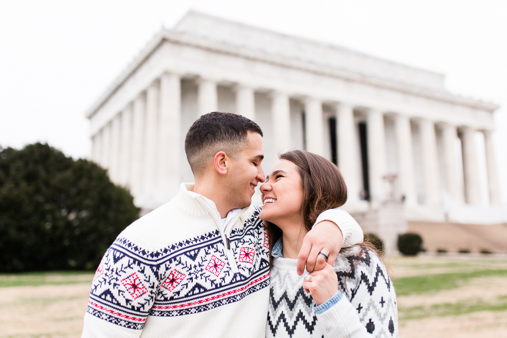 Candid engagement pictures by the Lincoln Memorial in Washington, DC | Best National Mall engagement photography