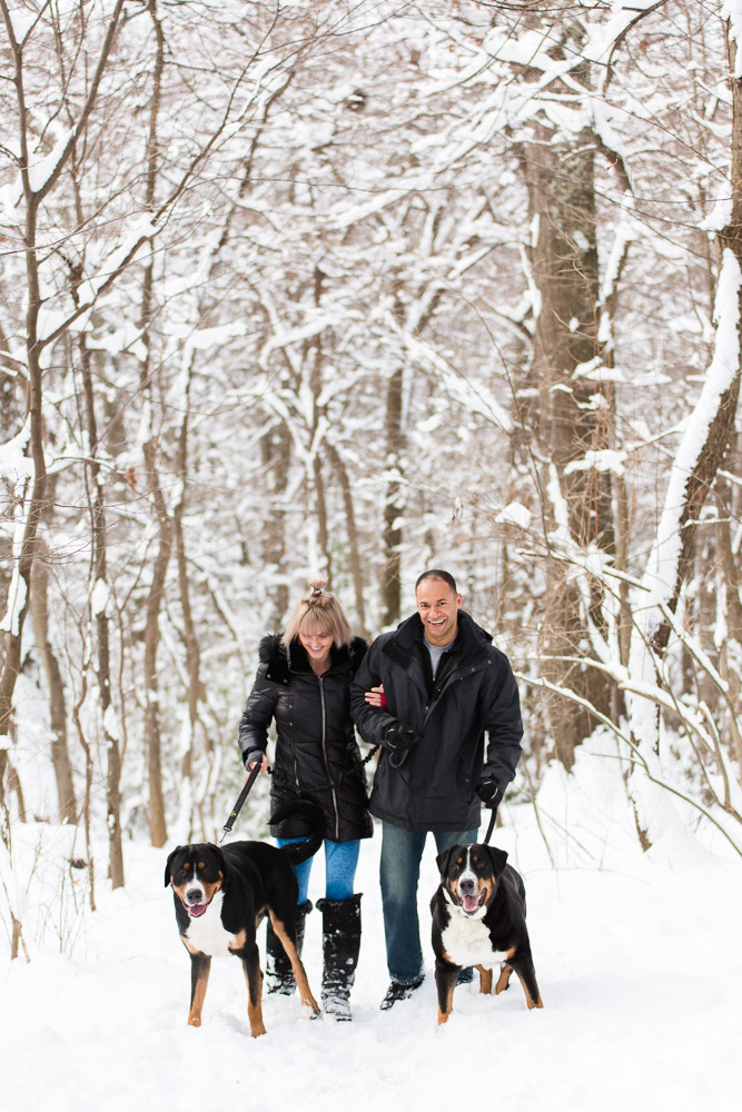 Couple bundled up in winter coats as the walk their two dogs along a snowy trail in Northern Virginia | Winter engagement pictures