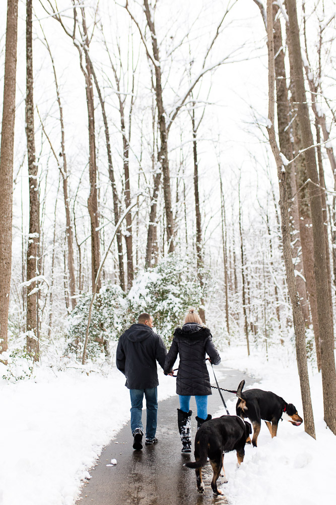 Walking the trails of Reston, Virginia during a winter photo shoot