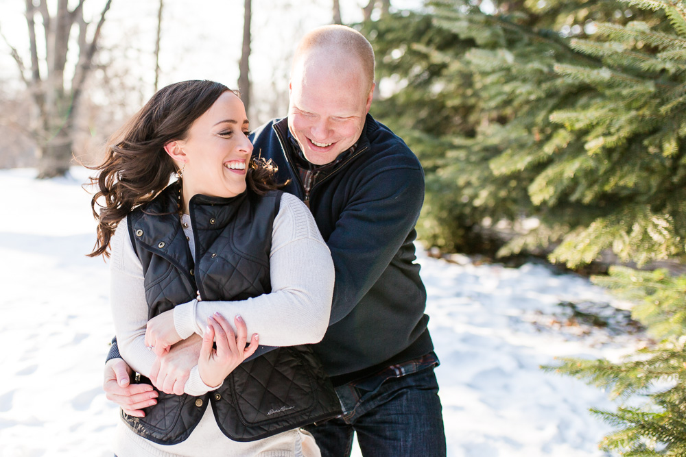 Fun and candid engagement photography in Rochester, NY | Winter engagement pictures