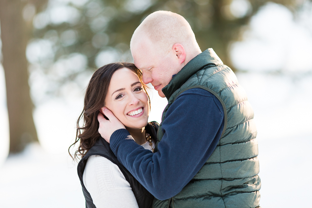 Rochester, NY winter engagement photos in the snow